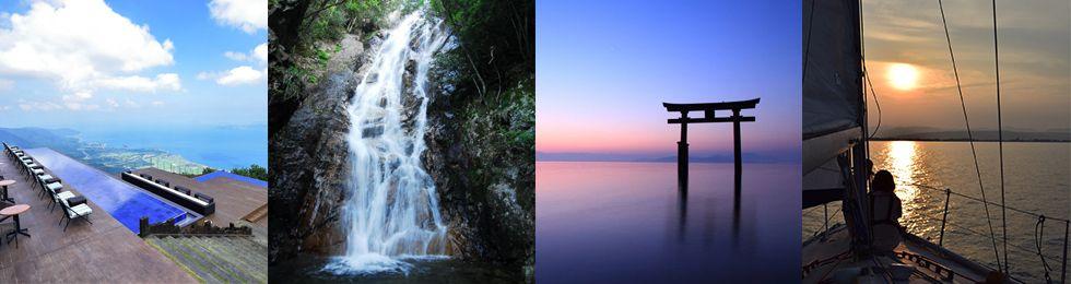 目の前に広がる琵琶湖のビーチ